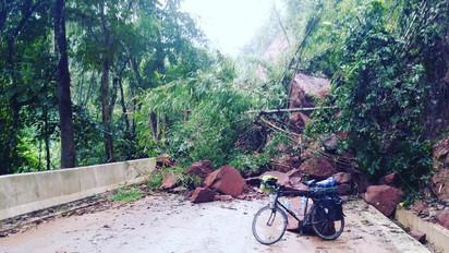 Road closed, presumably. A major landslide, Yunnan