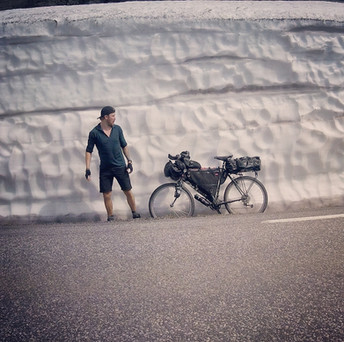 Snow piled high in the mountains