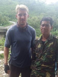 Meeting soldiers in Laos