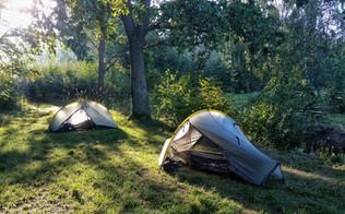 Camping beside Lake Dusia, Lithuania