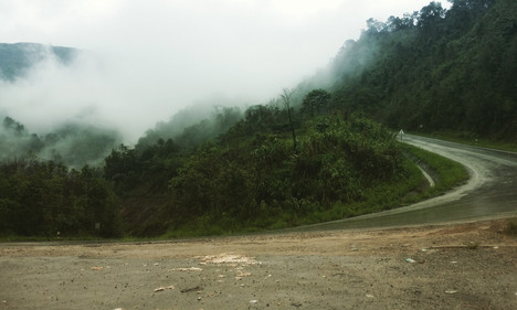A steep pass into the clouds, Laos between Vang Vieng and Luang Prabang