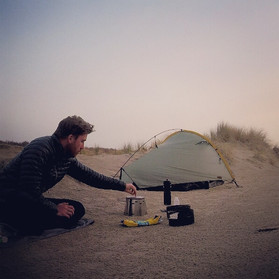 Camping in sand dunes on the coast of the Netherlands