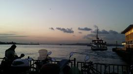 Reaching the Bosporus at sunset, Turkey