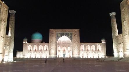 The Registan at night, Samarkand, Uzbeksistan