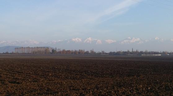 The Caucus mountains in the distance, Azerbaijan