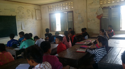 Giving a brief lesson in English, Laos