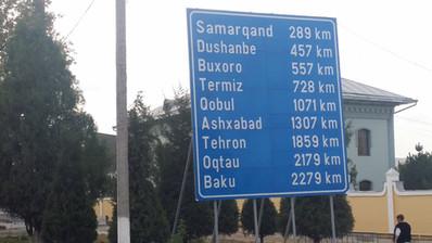 The most incredible signpost, leaving Tashkent, Uzbekistan