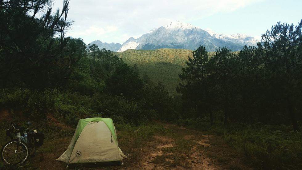 Camping in the shadow of Yulong Snow Mountain, Yunnan