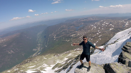At the summit of Gaustatoppen