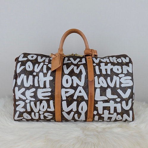 LOUIS VUITTON KEEPALL 50 GREY GRAFFITI LIMITED EDITION - FL0061