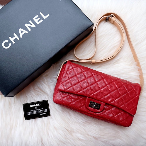"""CHANEL 9.5"""" EASY REISSUE MESSENGER FLAP 10C RED CAVIAR WITH RUTHENIUM HARDWARE"""