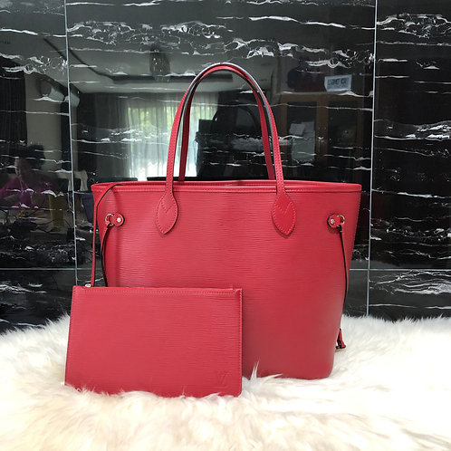 LOUIS VUITTON NEVERFULL MM RED EPI WITH POUCH - BD0016