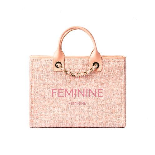 FEMININE®DeauvilleTote Ballerina Pink Tweed with SilverHardware