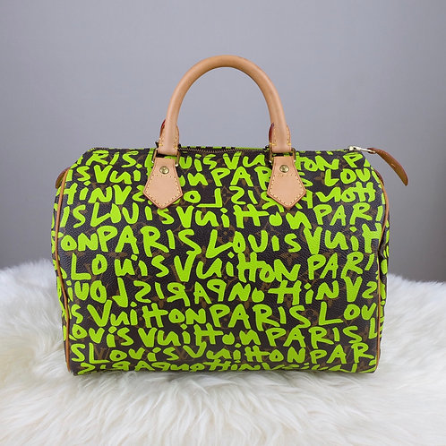 LOUIS VUITTON SPEEDY 30 GREEN GRAFFITI STEPHEN SPROUSE LIMITED EDITION - TH0029