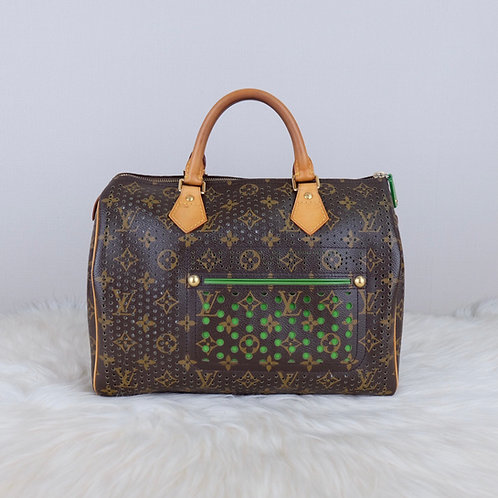 LOUIS VUITTON SPEEDY 30 GREEN PERFORATED LIMITED EDITION