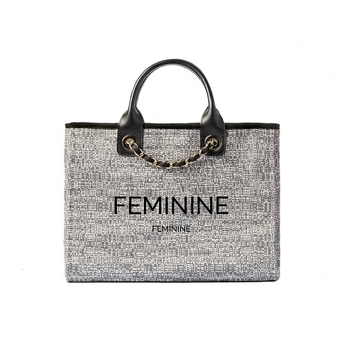 FEMININE®DeauvilleTote Charcoal Black Tweed with SilverHardware