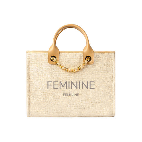 FEMININE® Deauville Tote Golden Beige Tweed with Gold Hardware