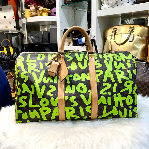 LOUIS VUITTON KEEPALL GRAFFITI GREEN STEPHEN SPROUSE LIMITED EDITION