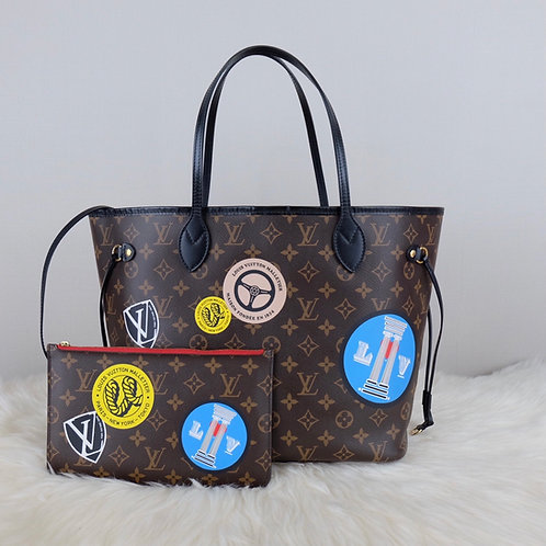 LOUIS VUITTON NEVERFULL MM MONOGRAM WORLD TOUR LIMITED EDITION W/ POUCH - AR4126