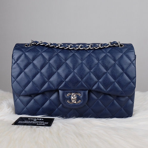 "CHANEL CLASSC 12"" JUMBO DOUBLE FLAPS NAVY BLUE CAVIAR WITH SILVER HARDWARE - 151"