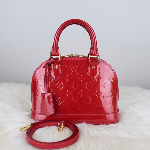 LOUIS VUITTON ALMA BB RED POMME D'AMOUR VERNIS - MI3173