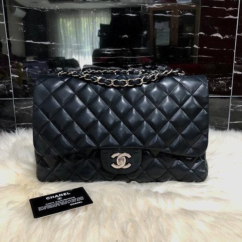 "CHANEL JUMBO 12"" BLACK LAMBSKIN WITH SILVER HARDWARE BD0014"
