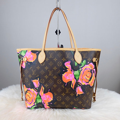 LOUIS VUITTON NEVERFULL MM MONOGRAM ROSE STEPHEN SPROUSE LIMITED EDITION