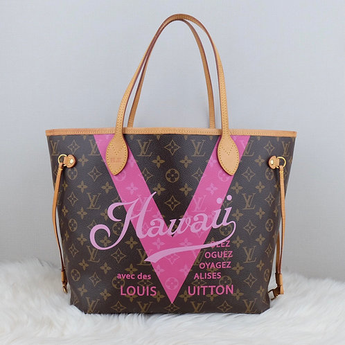 LOUIS VUITTON NEVERFULL MM V PINK HAWAII MONOGRAM LIMITED EDITION - SD3196