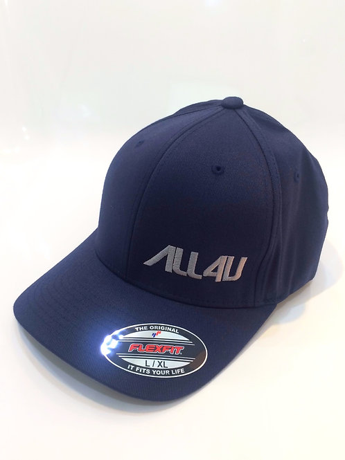 Embroidered All4U Flex Fit Navy Blue corner gray