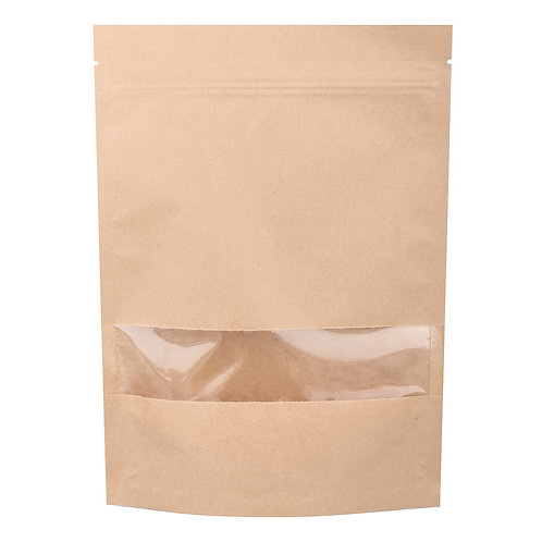 Kraft pouch bag with zipper - 180x260+40mm (100pcs/carton)
