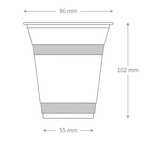 12oz PLA Clear Cup - 96mm  (1000pcs/carton)