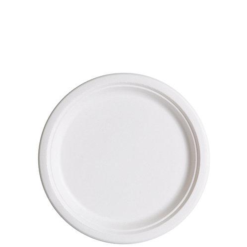 "Bagasse Plate White - 7"" (1000pcs/carton)"