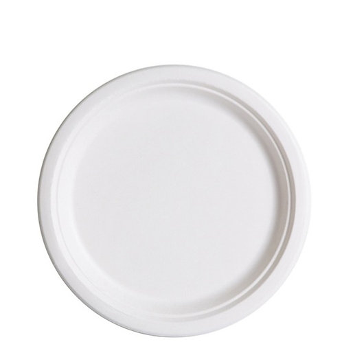 "Bagasse Plate White - 9"" (1000pcs/carton)"