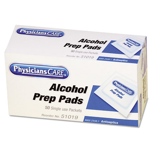 First Aid Alcohol Pads, Box of 50