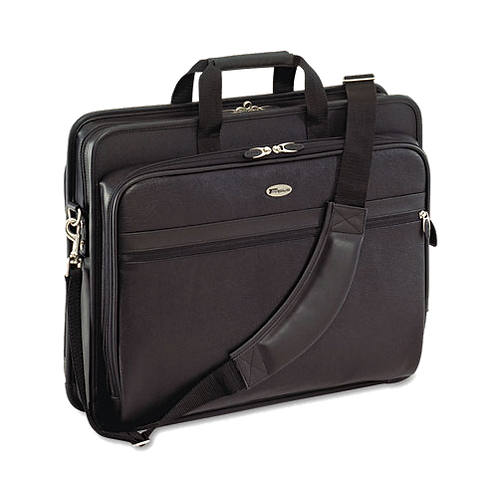 "Leather Laptop Case, Deluxe 17"" Expanded Storage"