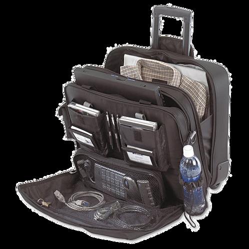 Rolling Travel Laptop Case, Nylon, 18x10x15, Black