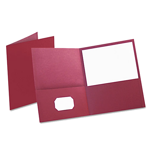 Twin-Pocket Folder, Embossed Leather Grain Paper