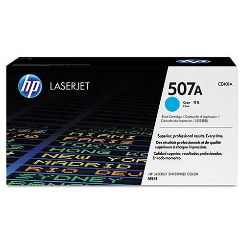 CE401A (HP 507A) Toner, 6,000 Page Yield, Cyan