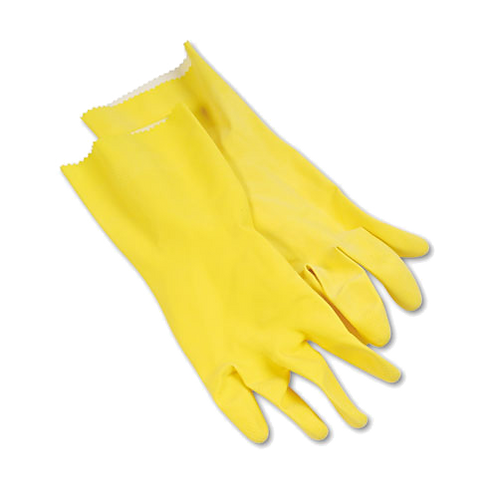 Flock-Lined Latex Cleaning Gloves, Large, Yellow