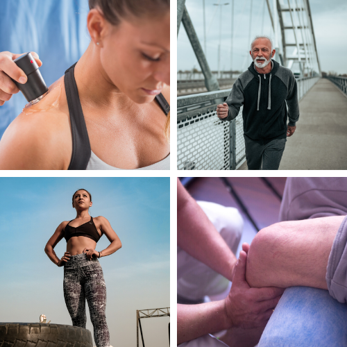 A collage of four images. In two images people are being treated by physical therapists, in the other two images two people appear to be out either walking or running.