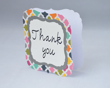 Multi-Colored Scalloped Thank You Card