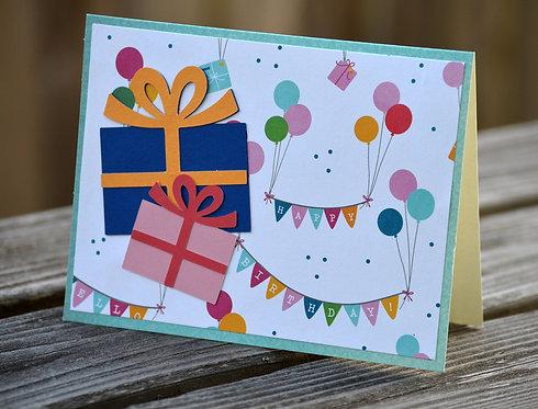 Birthday Presents & Balloons Card