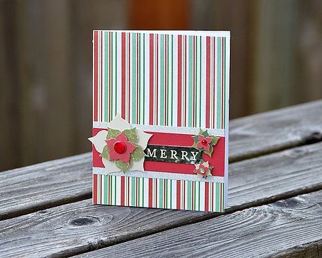 Merry Christmas Striped Floral Card