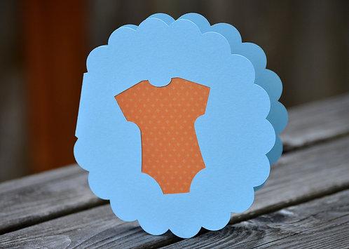 Baby Onesie Round Scalloped Card
