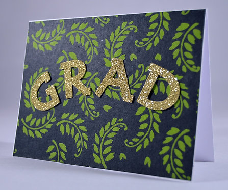 Sparkly Leaves Graduation Card