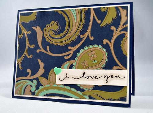 Blue Paisley Love Card