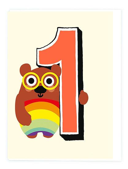 Age 1 Bear Card