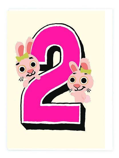 Age 2 Bunny Card