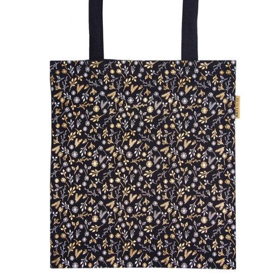 Navy Gold Floral Tote bag
