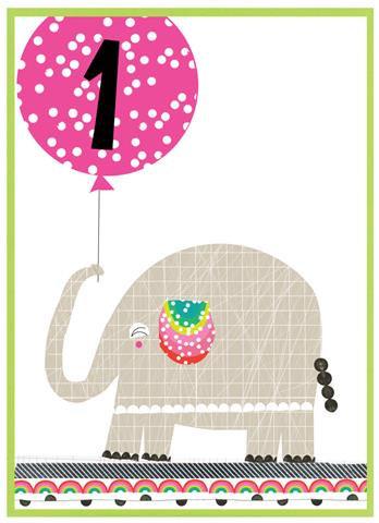 Age 1 Elephant Card
